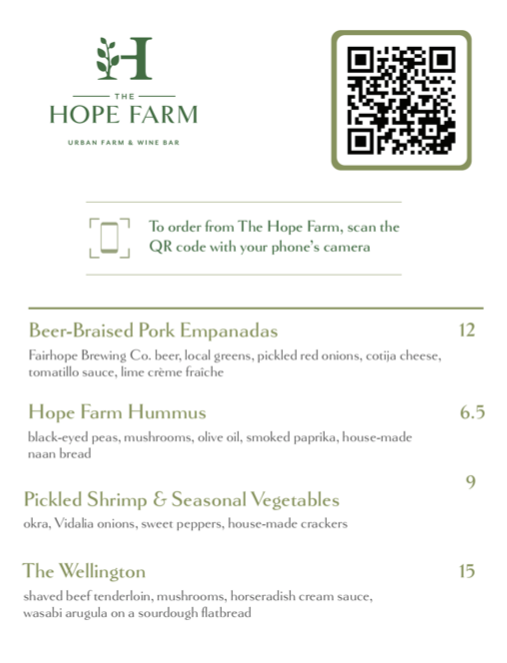 Hope Farm Small Plates Now Available in the Taproom